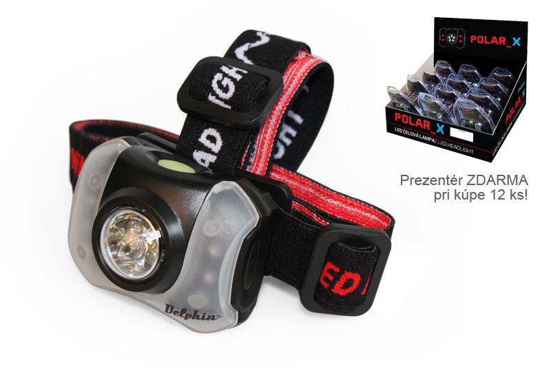 Čelová lampa Delphin POLAR_X,5+4 LED