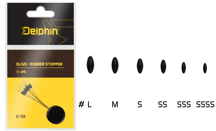 Zarážky Delphin Olive Rubber Stopper L